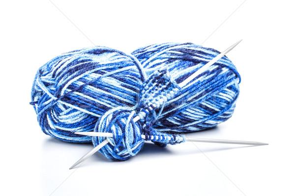 Azul hilados agujas aislado blanco Foto stock © grafvision