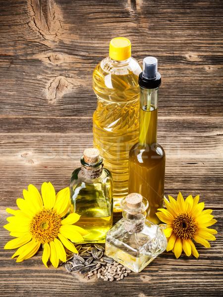 óleo de girassol flores girassol grão saúde fundo Foto stock © grafvision