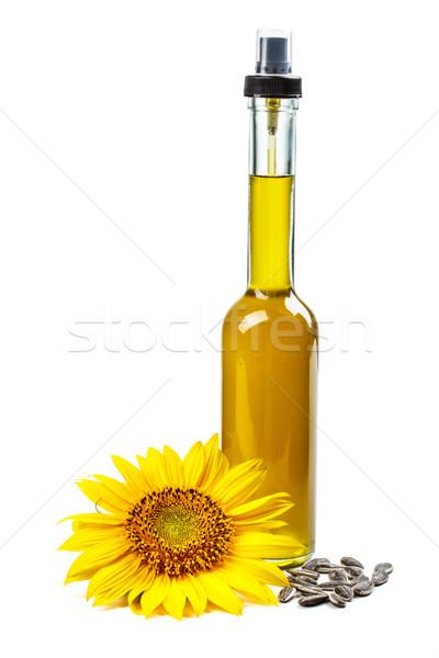 óleo de girassol vidro garrafa flor Óleo líquido Foto stock © grafvision