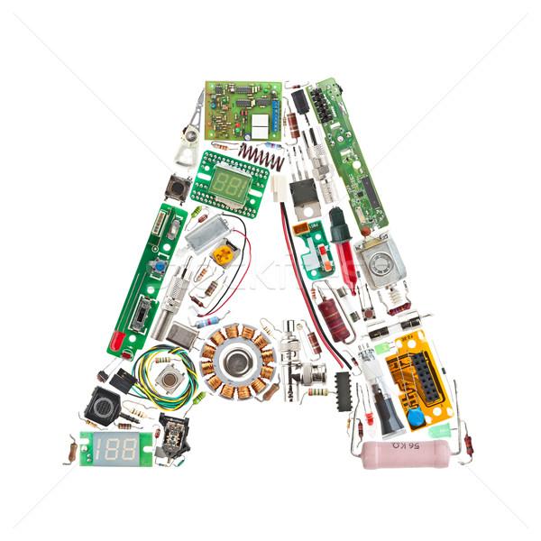 Foto stock: Eletrônico · componentes · carta · isolado · branco · computador