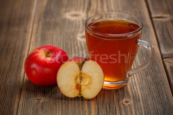 リンゴジュース ガラス 木製 カップ 甘い 新しい ストックフォト © grafvision