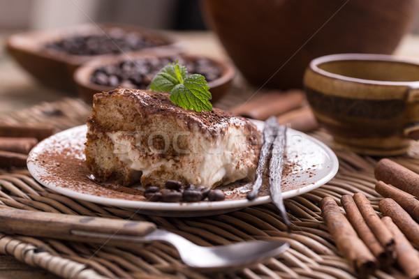 ティラミス プレート コーヒー ケーキ ミルク ストックフォト © grafvision