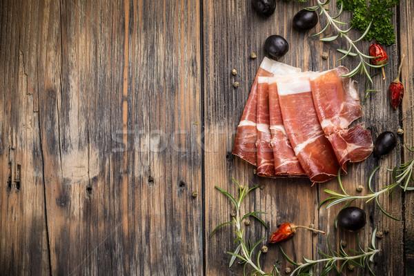 Prosciutto felső kilátás olasz étel hús Stock fotó © grafvision