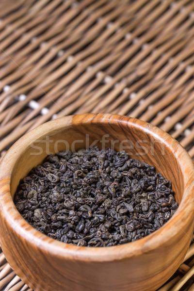 Tál tea fából készült háttér kínai kultúra Stock fotó © grafvision