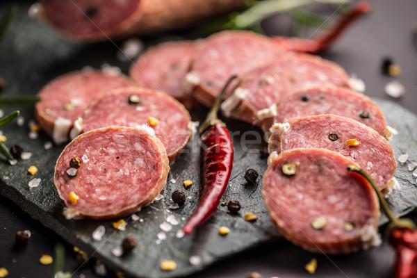 Salame fatias conselho italiano tradicional Foto stock © grafvision