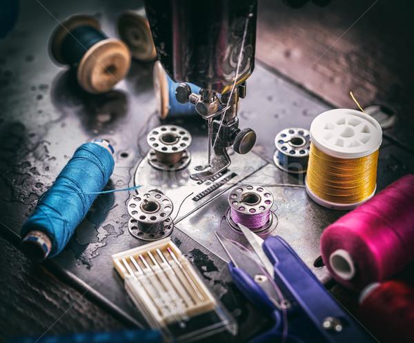 Detay eski dikiş makinesi dikiş sanayi Stok fotoğraf © grafvision