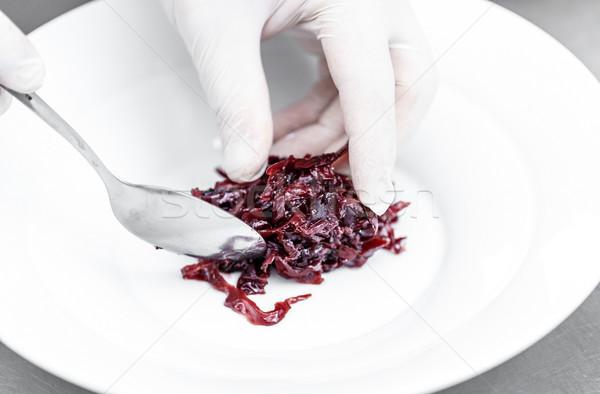 Stok fotoğraf: Baharatlı · kırmızı · lahana · şef · beyaz