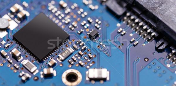 интегрированный микрочип микропроцессор синий плате компьютер Сток-фото © grafvision