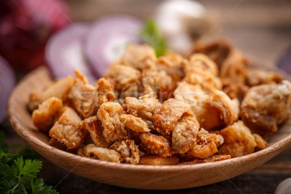 Tuzlu domuz eti plaka yağ soğan Stok fotoğraf © grafvision