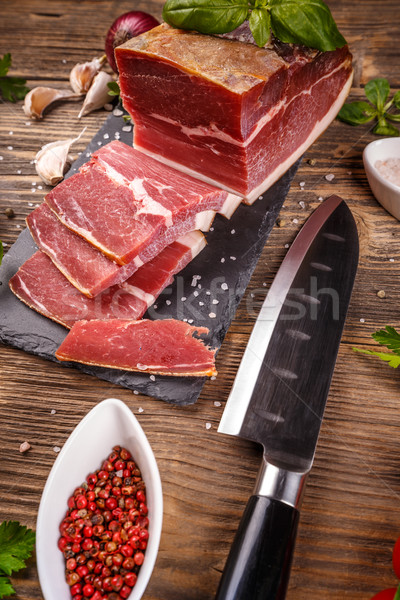Füme domuz eti et ahşap yeşil Stok fotoğraf © grafvision
