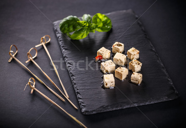 Noir fromages pétrolières olive cube Photo stock © grafvision