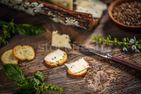 Kaas karwij zaden hout boord concept Stockfoto © grafvision