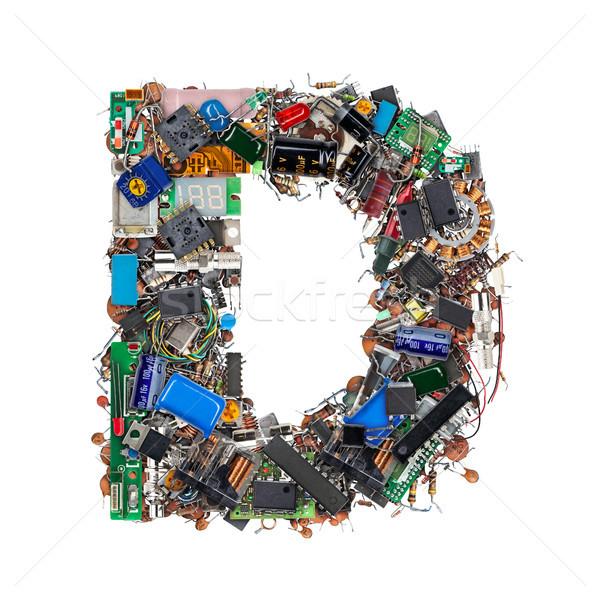 D betű elektronikus alkotóelemek izolált fehér technológia Stock fotó © grafvision