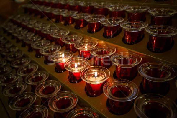 Foto stock: Ardente · velas · igreja · vela · vidro