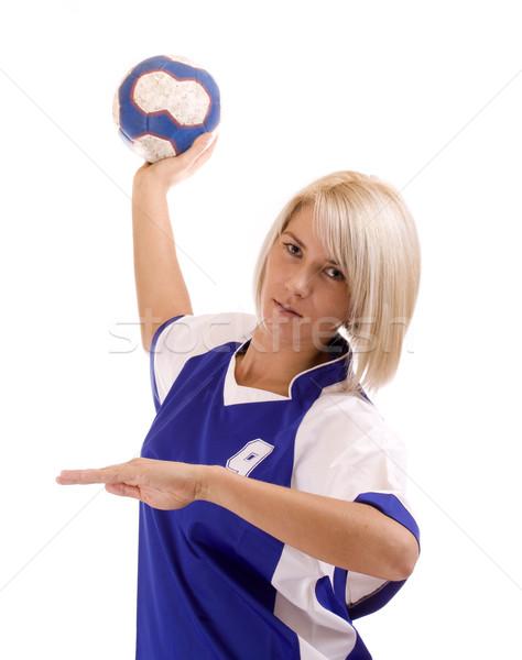 ストックフォト: 女性 · ハンドボール · プレーヤー · 中古 · ボール