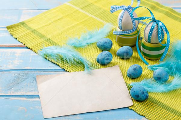 Húsvét levélpapír tojások toll papír tavasz Stock fotó © grafvision
