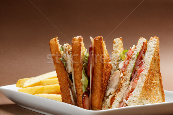 Klub szendvics pirított kenyér sajt vacsora tányér Stock fotó © grafvision