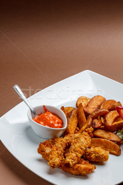 Croccante pollo patate ristorante Foto d'archivio © grafvision