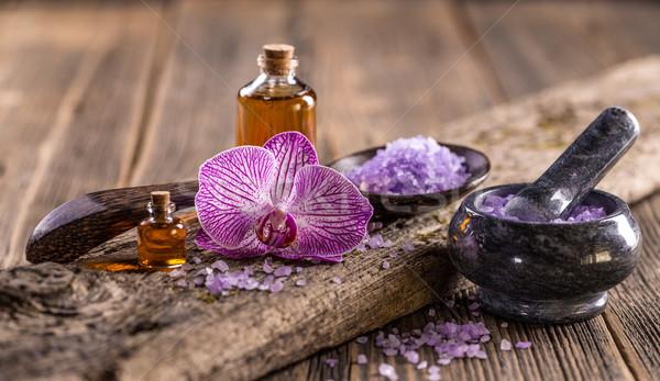 Lavender oil and salt  Stock photo © grafvision