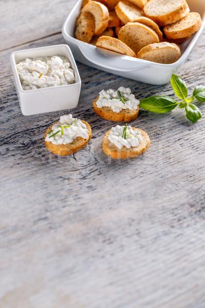 Brood geroosterd voorgerechten cottage cheese vinger vers Stockfoto © grafvision