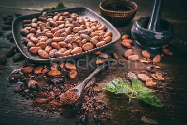 Kakaó bab por csendélet öreg fából készült Stock fotó © grafvision