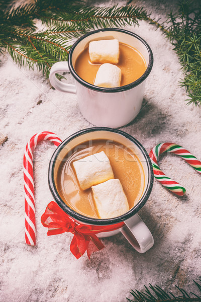 Winter warme drank cacao christmas stijl achtergrond Stockfoto © grafvision