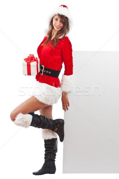 クリスマス 少女 サンタクロース 帽子 バナー 紙 ストックフォト © grafvision