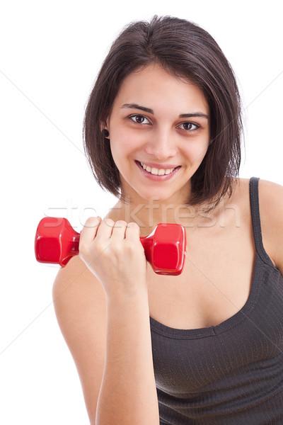 Fitness woman portre güzel genç kadın dambıl Stok fotoğraf © grafvision