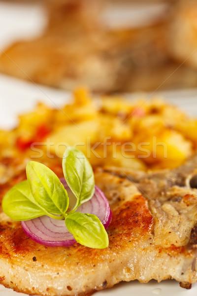 Foto stock: Cerdo · lomo · alimentos · cena · filete · papa