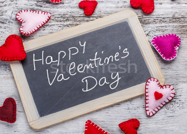 Felice san valentino manoscritto messaggio lavagna amore Foto d'archivio © grafvision