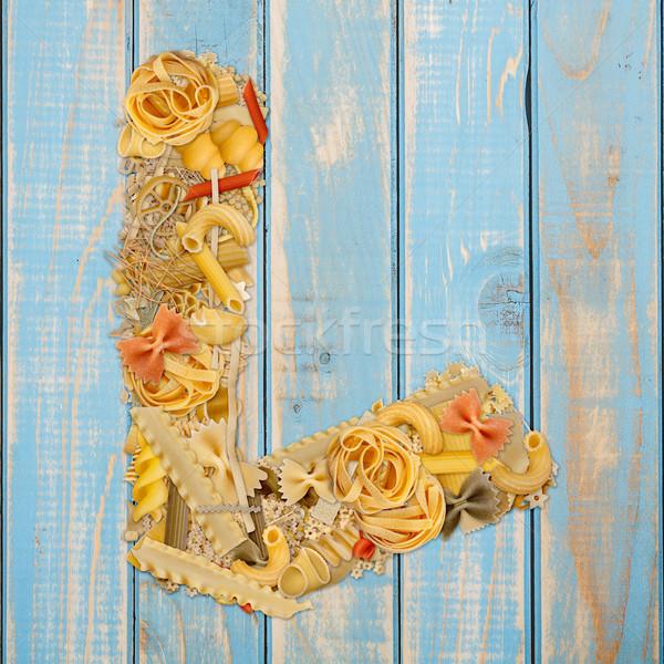 Letter l pasta Blauw houten voedsel achtergrond Stockfoto © grafvision