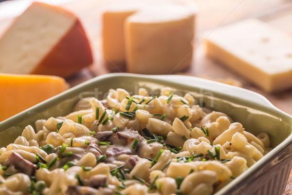 Makaróni sült sajt sütés edény étel Stock fotó © grafvision
