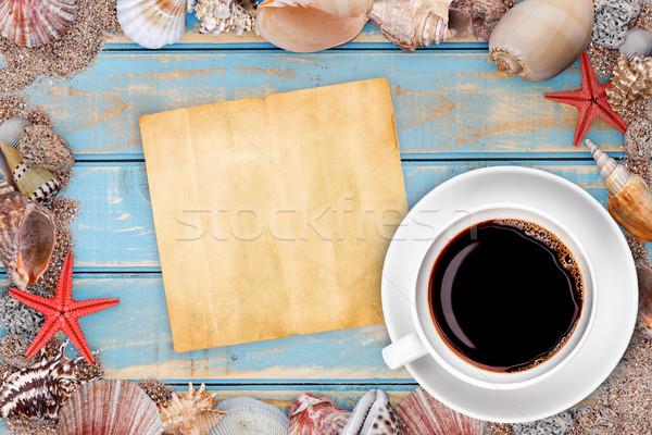 Paper with seashells Stock photo © grafvision
