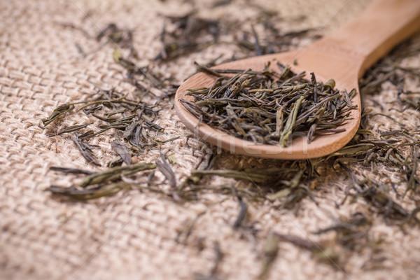 Száraz tea fakanál fa háttér levelek Stock fotó © grafvision