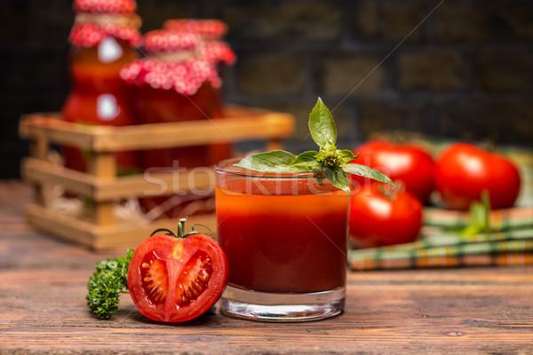 トマトジュース ガラス 木製のテーブル 表 ヴィンテージ スタジオ ストックフォト © grafvision