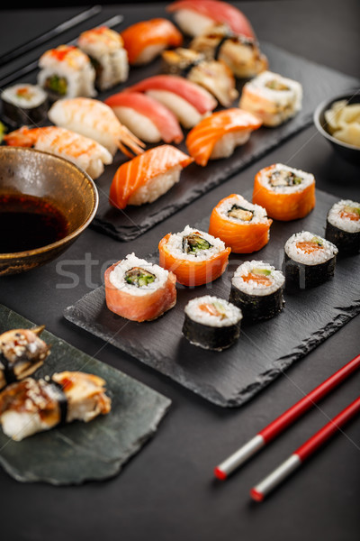 Sushis servi pierre alimentaire Photo stock © grafvision