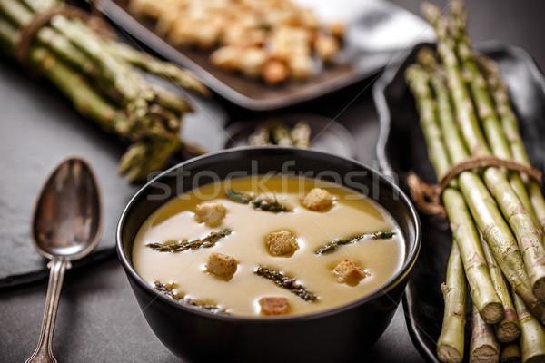 Bowl of asparagus cream soup Stock photo © grafvision