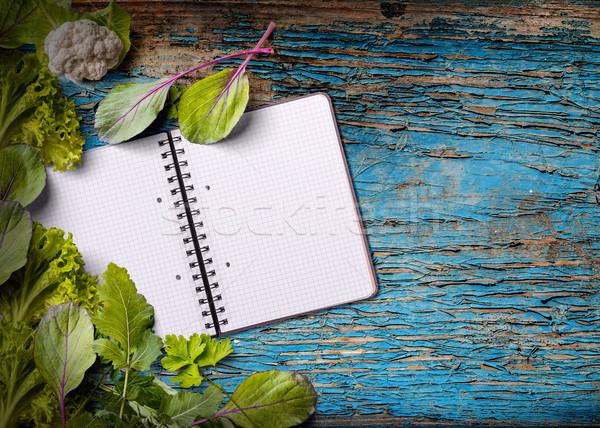 Yemek kitabı bo mavi ahşap gıda Stok fotoğraf © grafvision