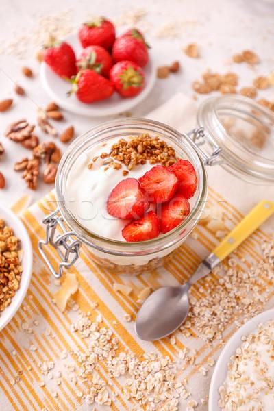 Verre jar avoine granola yogourt fraîches Photo stock © grafvision