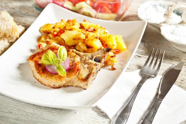 Grillezett disznóhús vesepecsenye felszolgált krumpli étel Stock fotó © grafvision