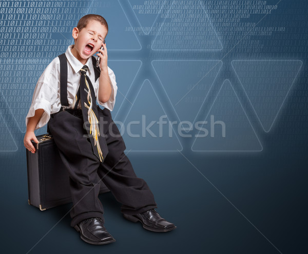 Boy in daddy business suit Stock photo © grafvision