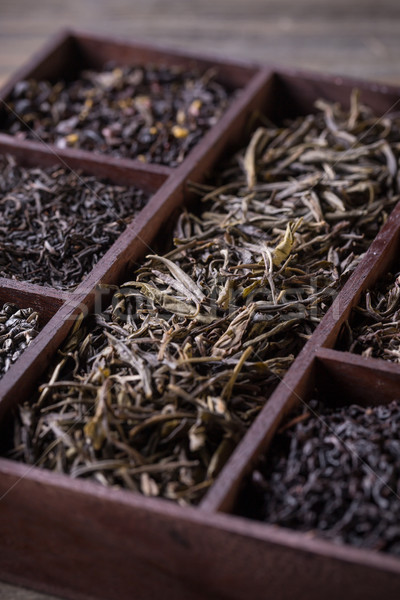 Dry tea in wooden crate Stock photo © grafvision