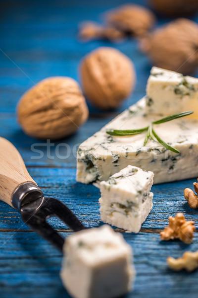 ブルーチーズ 青 木製 木材 背景 チーズ ストックフォト © grafvision