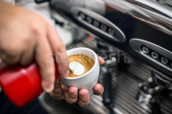 Бариста капучино молоко ресторан Бар Сток-фото © grafvision