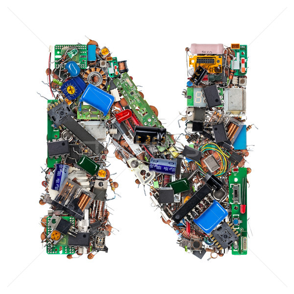 Letter N made of electronic components Stock photo © grafvision