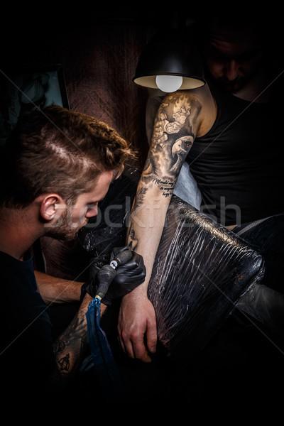 Bearded tattoo artist Stock photo © grafvision