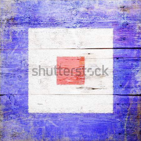 Internationale signaal vlag geschilderd hout Stockfoto © grafvision