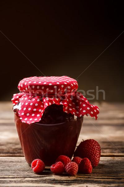 банку Jam зрелый Ягоды стекла красный Сток-фото © grafvision