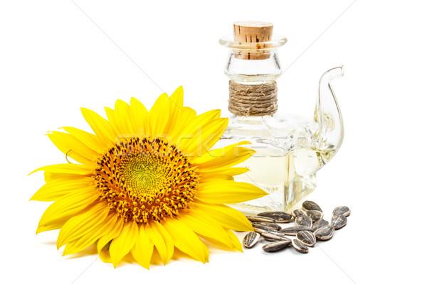 ひまわり油 ボトル 花 孤立した 白 食品 ストックフォト © grafvision