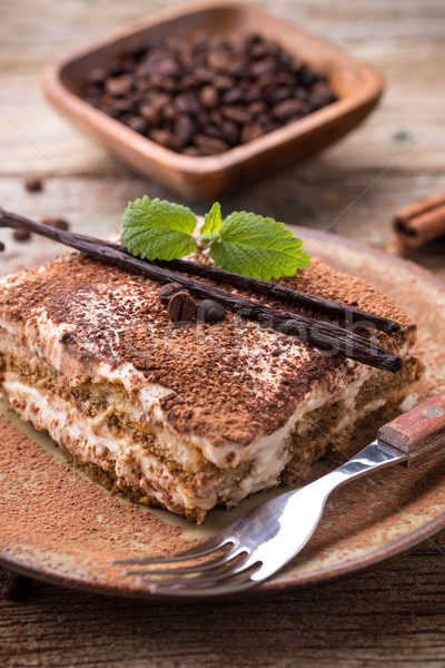 Tiramisu cake populair Italiaans dessert koffie Stockfoto © grafvision